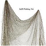 Fishing Net 5' x 10'   Authentic Nautical Net   Decorative Fish Net   Plus Free Nautical eBook by Joseph Rains (2 Pack) (Tamaño: 2 Pack)