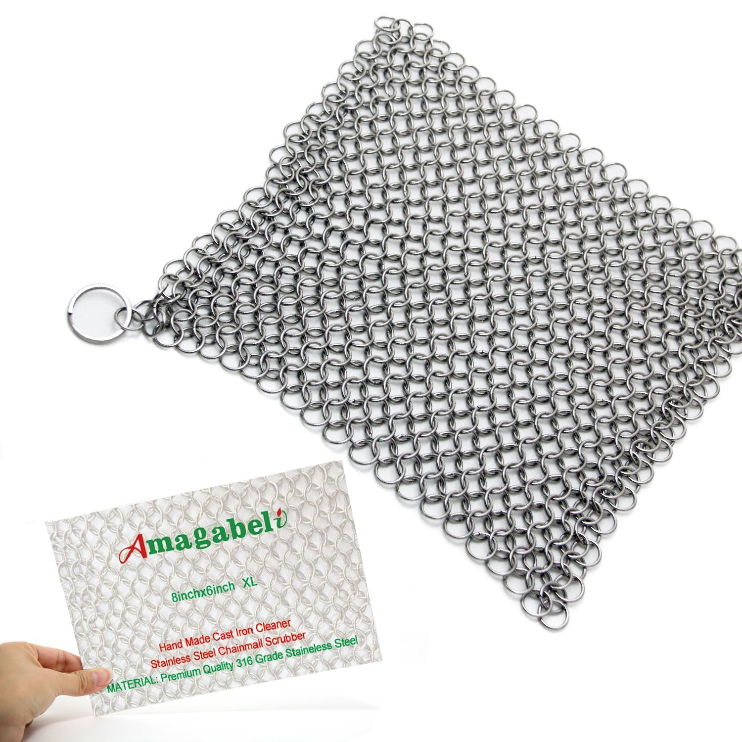 Amagabeli Home Cast Iron Cleaner XL 8x6 Inch 316L Highest Grade Stainless Steel Chainmail Scrubber , 316HW001