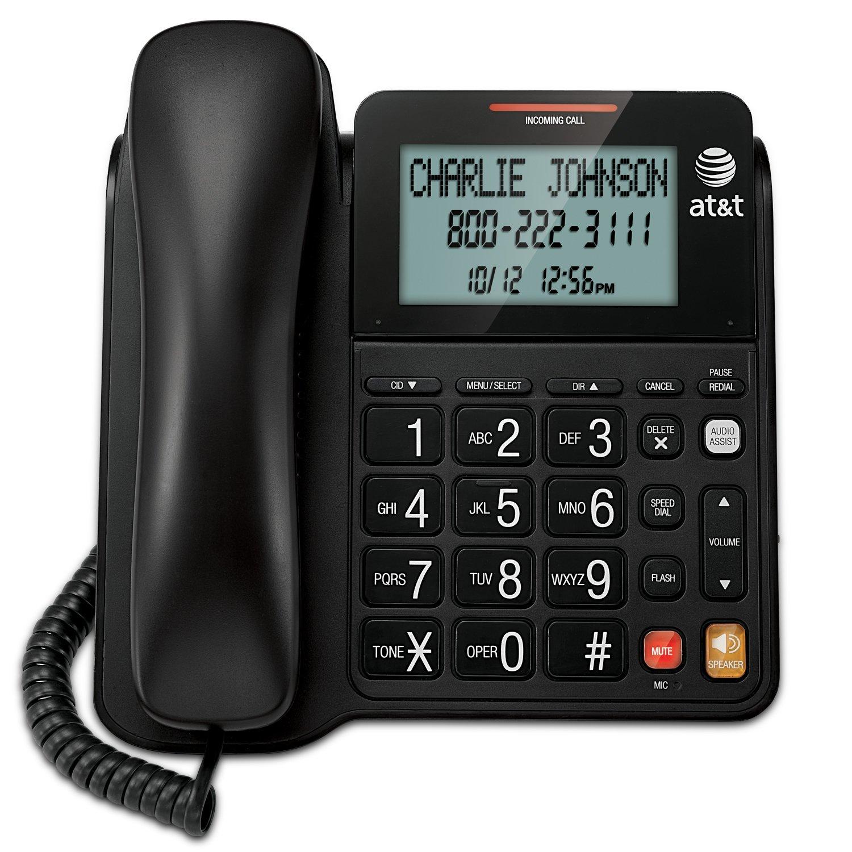 Telefonos-fijos Vtech, AT y T CL2940 teléfono alámbrico con altavoz, inclinación Extra grande pantalla y botones, Caller ID/llamada en espera y ayuda Audio, negro en Veo y Compro