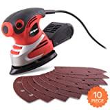 Hi-Spec 200W Palm Detail Orbital Mouse Sander with Dust Collector & 10pc Sanding Pad Kit for Removing Paint, Varnish, Stains, Preparing Furniture, Polishing, Smoothing Out & Sanding Down Wood (Color: A. Detail Sander)
