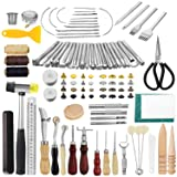 JOYPEA Leather Working Tools 195 PCS Leather Craft Stamping Tools with Cutting Mat Snaps and Rivets Kit Stitching Groover, Prong Punch for DIY Leather Craft (Color: Black)