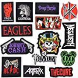 Riao-Tech 14pcs Rock Metal Band Patch Set Iron on Sew on Patches Rage Kiss Anthrax