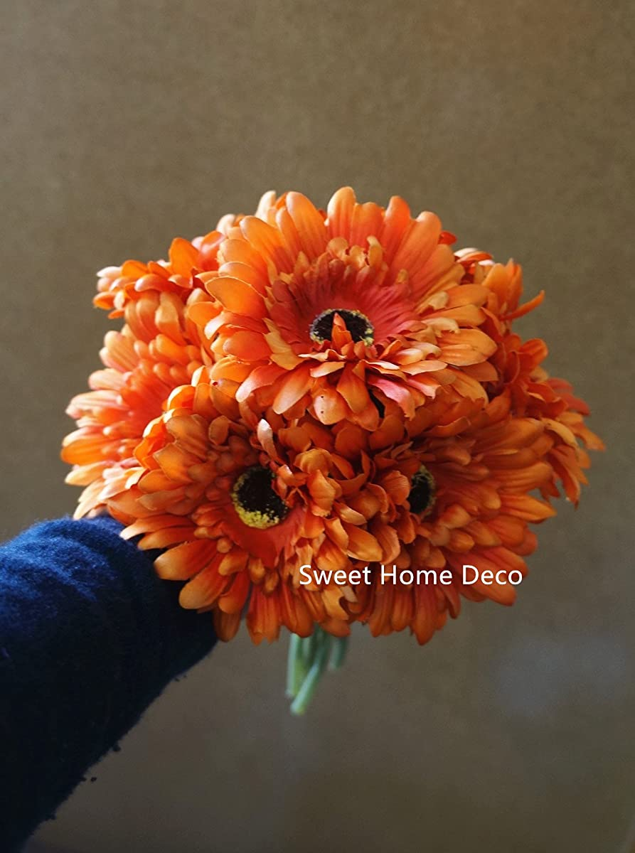 Sweet Home Deco 13 Silk Artificial Gerbera Daisy Flower Bunch W