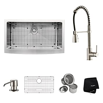 "Kraus KHF200-36-KPF1612-KSD30SS 36"" Farmhouse Single Bowl Stainless Steel Kitchen Sink with Stainless Steel Finish Kitchen Faucet and Soap Dispenser"