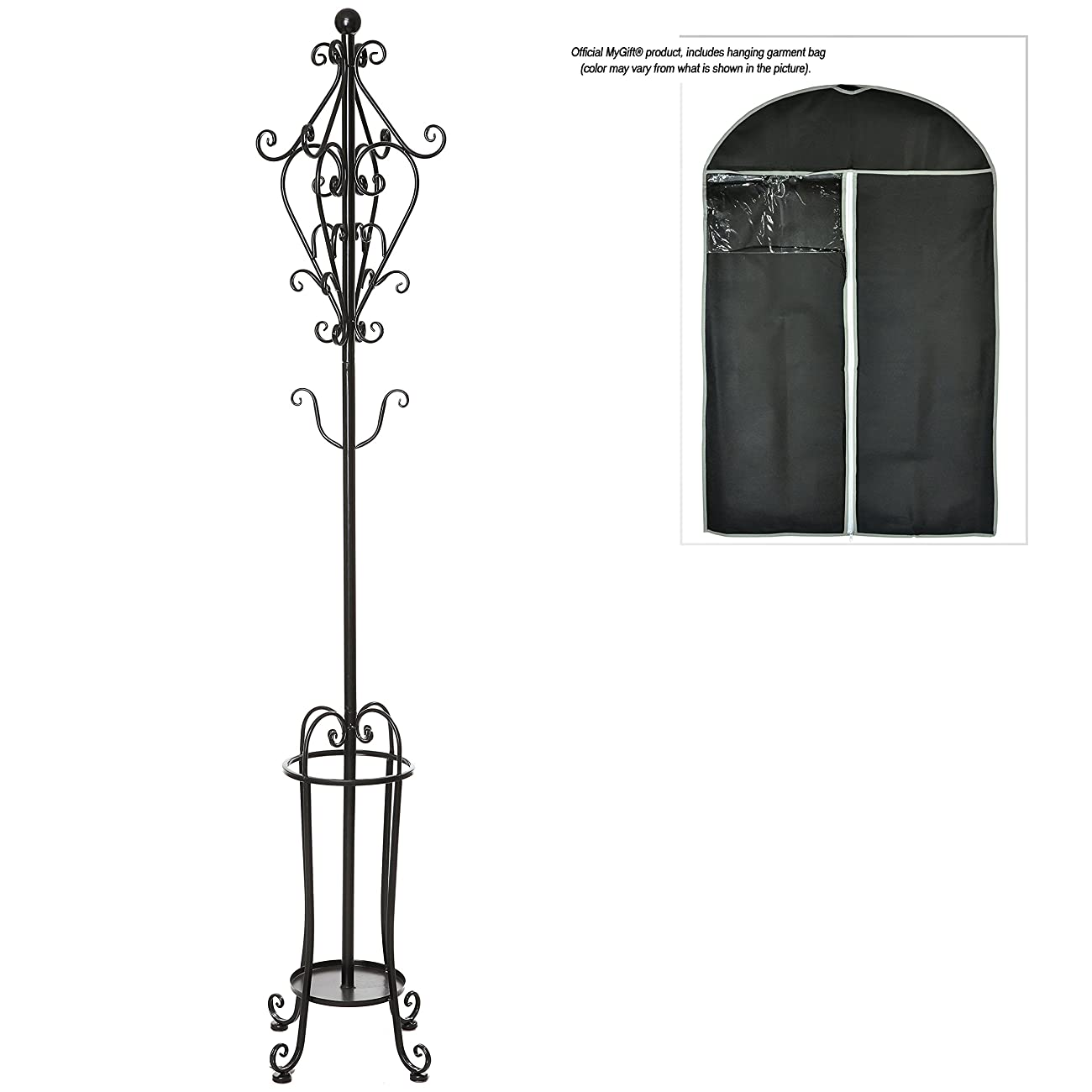 6' Freestanding Vintage Victorian Black Metal Scrollwork Coat Rack / Hat Hook Stand with Umbrella Holder 4