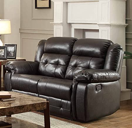 Homelegance Palco Recliner Love Seat In Dark Brown Airehyde Match