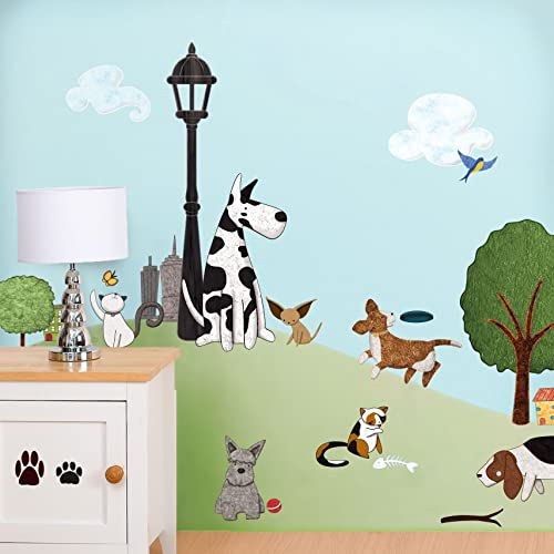 Cat & Dog Decals Stickers for Doggie Spas Animal Groomers and Kids Room Wall Mural