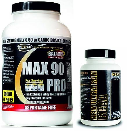 Kit besteht aus 2 Ergänzungen 1) 90 % Protein 750 gr. drei Proteinquellen , langsame Freisetzung , wenig Fett und Kohlenhydrate, High-Protein, Vanille-Geschmack , ohne Aspartam 2) verzweigtkettigen Aminosäuren BCAA Tabletten von 100 bis 135 Gram