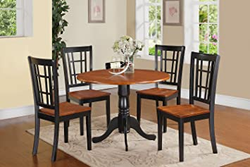 East West Furniture DLNI5-BCH-W 5-Piece Kitchen Nook Dining Table Set, Black/Cherry Finish