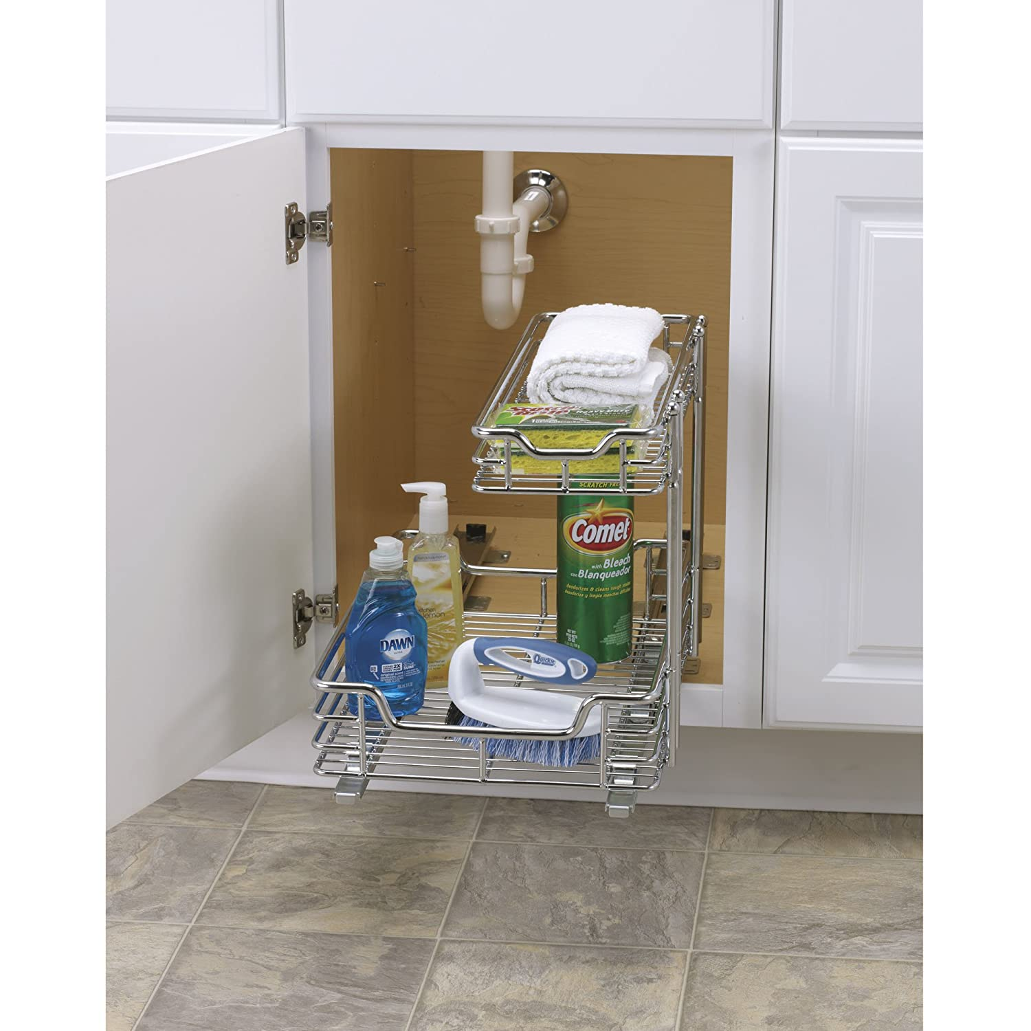 Sink Organizer Shelf Under Kitchen Cabinet Storage Sliding ...