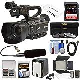 JVC GY-HM250U Ultra 4K HD 4KCAM Professional Camcorder & Top Handle Audio Unit with XLR Microphone + 64GB Card + Battery + LED Video Light + Kit (Color: Black, Tamaño: Video Light Kit)