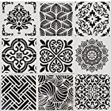 Reusable Painting Stencils for Floor Wall Tile Fabric Furniture Wood Burning Art&Craft Supplies Mandala Template 9PC (Color: A9, Tamaño: 9PC -SET)