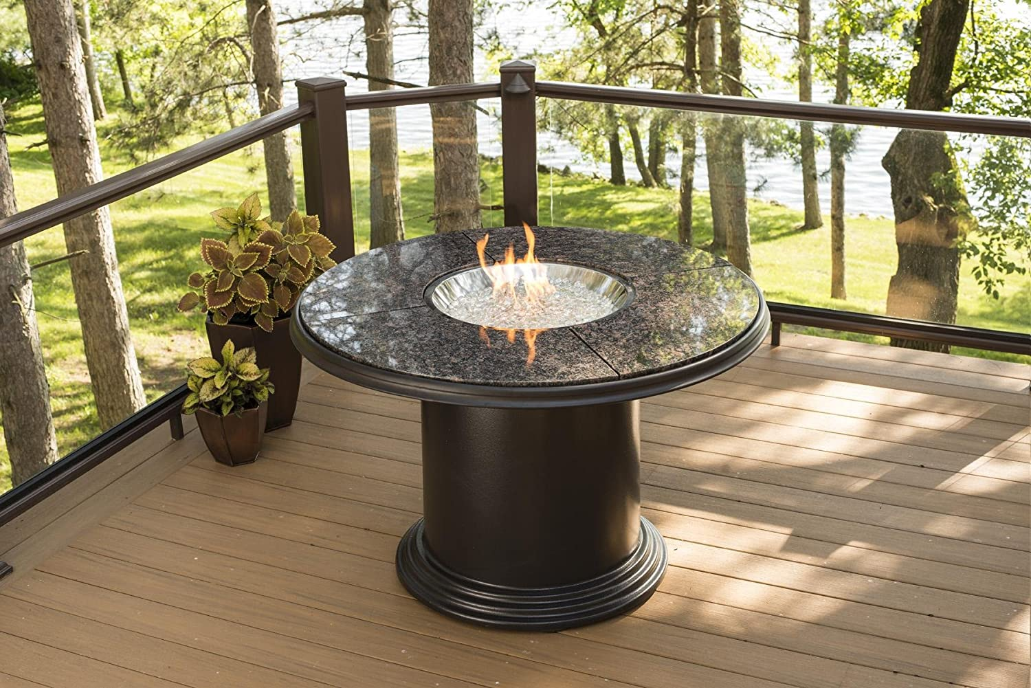 Outdoor Greatroom Grand Colonial Dining Height Gas Fire Pit Table