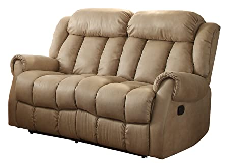 Homelegance 8535BE-2 Double Reclining Loveseat, Beige Fabric