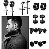 LOLIAS 6 Pairs Black Stud Earrings Hoop Earrings Set for Men Women Stainless Steel Huggie Earrings Piercing (Color: 6 pairs)