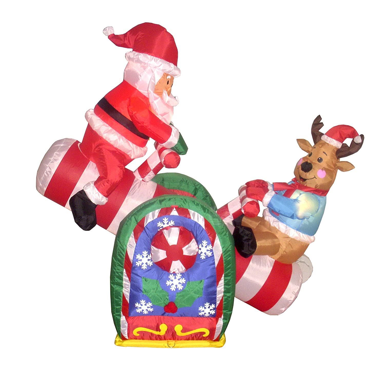 BZB Goods 4 Foot Animated Christmas Inflatable Santa and Reindeer Teeter Totter Lighted Decoration at Sears.com