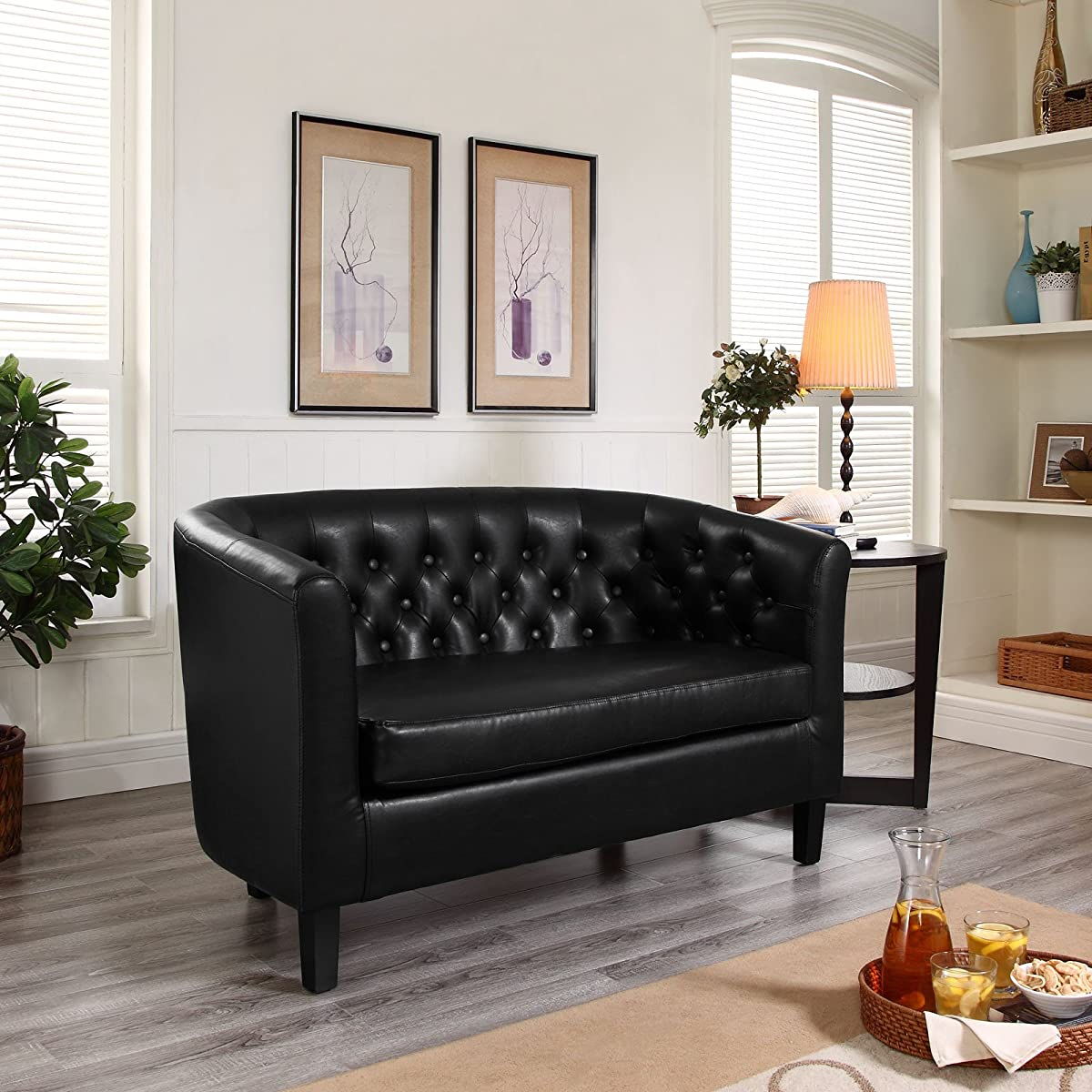 Modway Prospect Upholstered Contemporary Modern Loveseat In Black Faux Leather