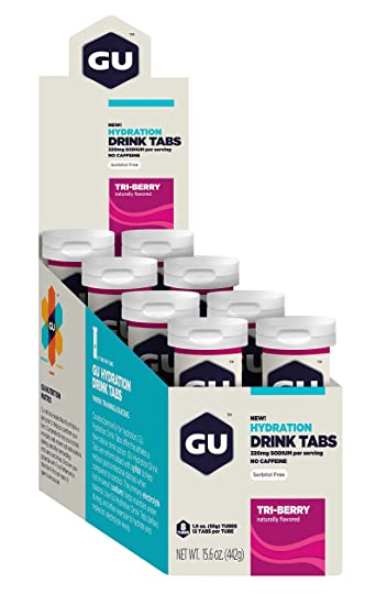 GU Brew Hydration Drink Tabs (Elektrolyt-Brausetabletten), Tri-berry, 12 Stuck