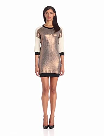 Trina Turk Women's Denise Metallic Front Short Sleeve Sweater Dress, Bronze, Petite
