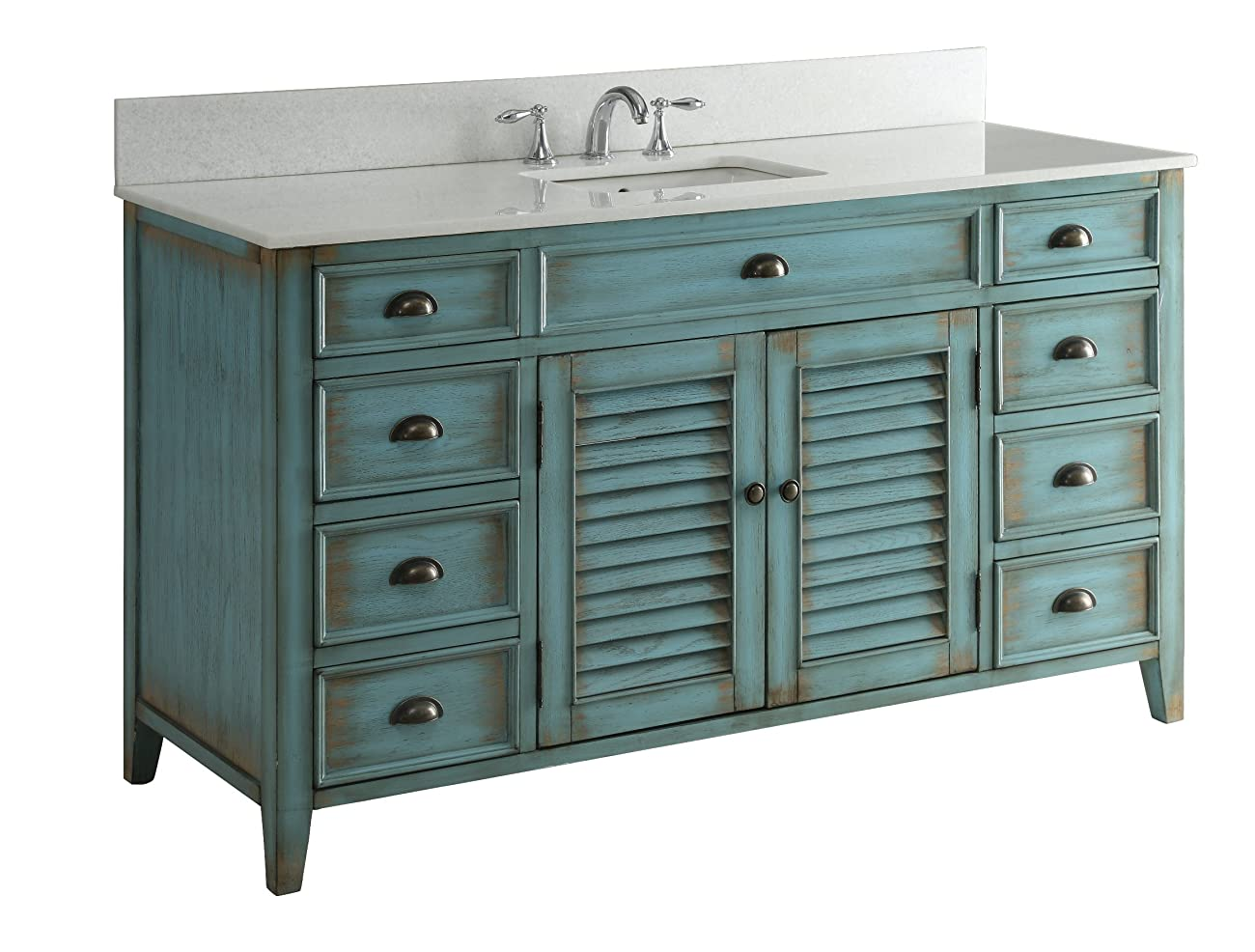 "60"" Cottage look Single Sink Abbeville Bathroom Sink vanity Model CF-66323BU-60 3"