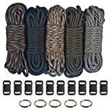 Paracord 550  Kit - Five Colors (Olive Drab, ACU, Woodland Camo, Desert Camo, & Black) 100 Feet Total w/10 3/8