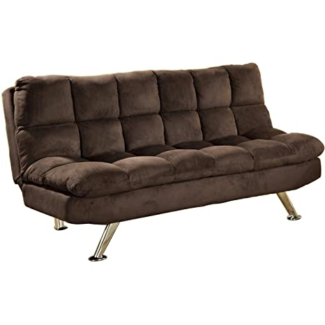 Pearington Cocoa Beach Microfiber Futon Sofa, Chocolate Brown