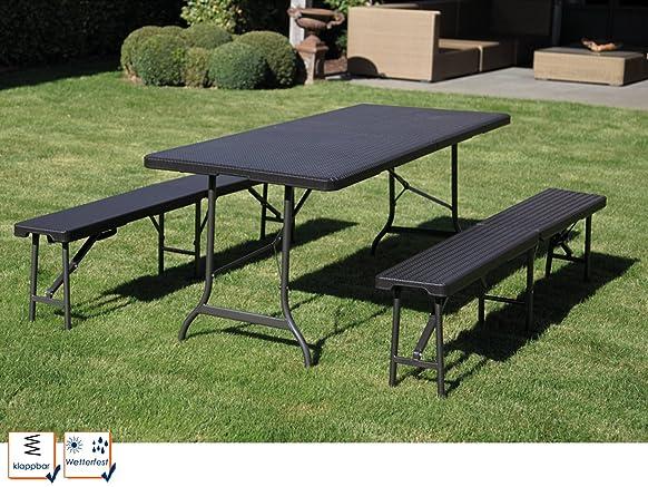 Plastica panche in rattan look, tavolo e 2panche, pieghevole, robusto e stabile