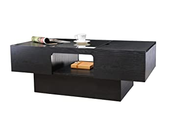 Furniture of America Lansing Rectangular Coffee Table with Storage, Black