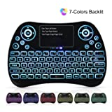 Mini Wireless Keyboard, SUPVIN 2.4GHz Remote Multimedia Keyboard with Touchpad Mouse Comb, RGB Backlit/Portable USB Rechargable Keyboard for Android TV Box, PC, Smart TV, Raspberry Pi 3, HTPC, PS4 (Color: Multicoloured, Tamaño: Mini)