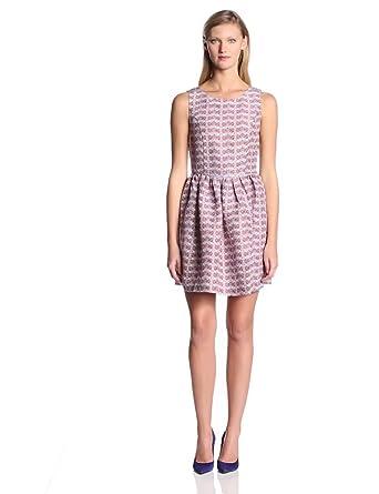 Joie Women's Meriel Silk Chevron Print Sleeveless Flare Dress, Deep Lapis, Medium