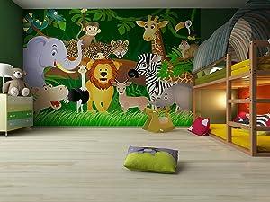 Fototapete Lustiger Dschungel und Tiere fürs Kinderzimmer  Größe 360 x 270 cm , vierteilig   Kundenbewertung und Beschreibung