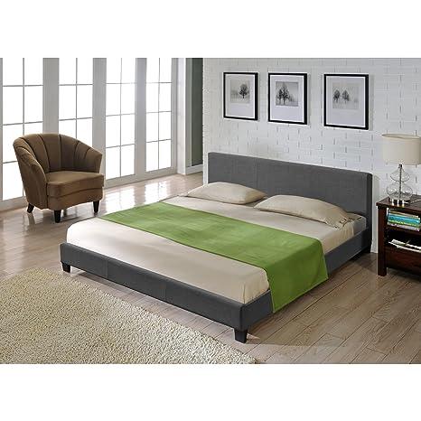 Corium® Cama moderna de tela - cama de matrimonio 140x200cm - gris oscuro