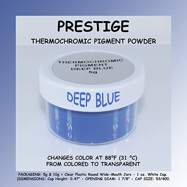 Prestige THERMOCHROMIC Pigment That Changes Color at 88°F (31 °C) from Colored to Transparent (Colored Below The Temperature, Transparent Above) Perfect for Color Changing Slime! (5g, DEEP Blue) (Color: DEEP BLUE, Tamaño: 5g)