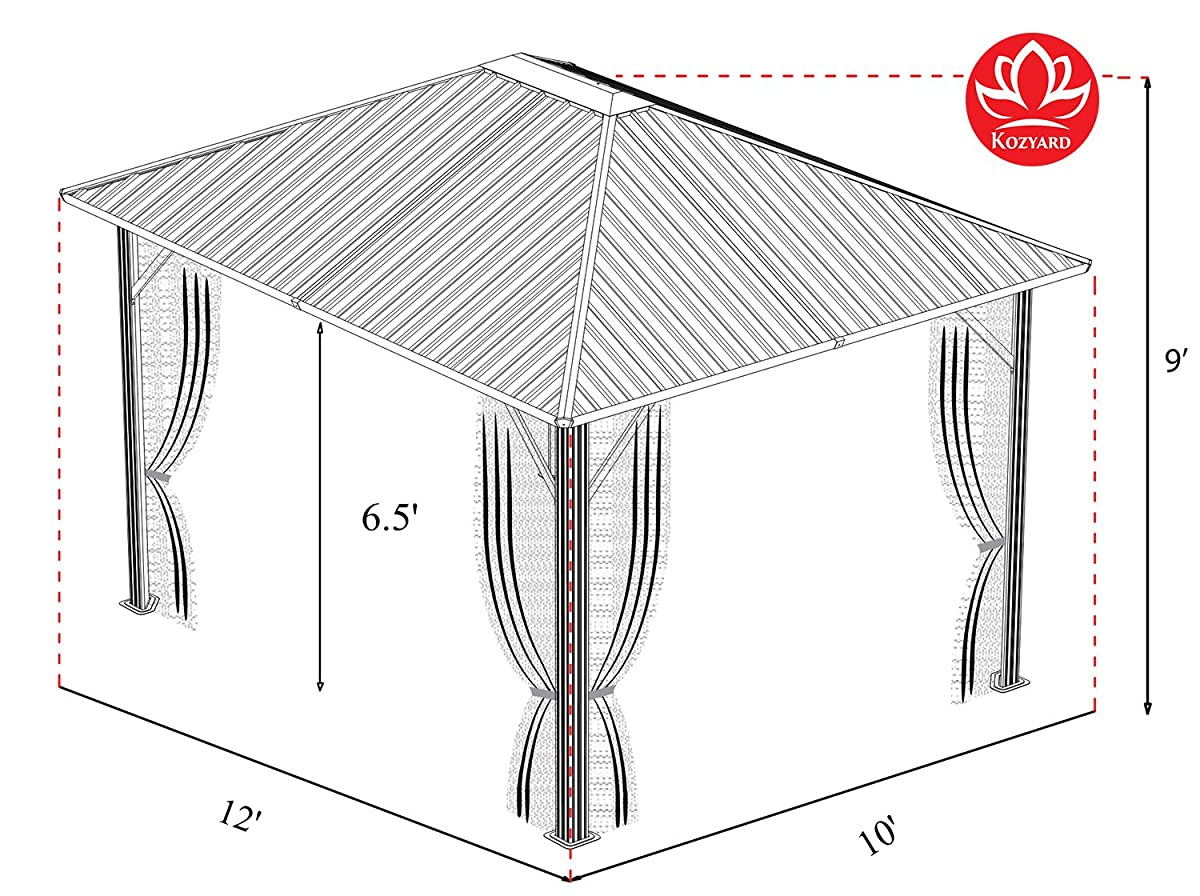 Kozyard Rosana 10x12 Hardtop Aluminum Permanent Gazebo with 2-layer Sidewalls (Rosana 10x12)