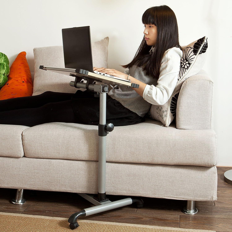 SoBuy Universal Adjustable Side Table with Lockable Wheels