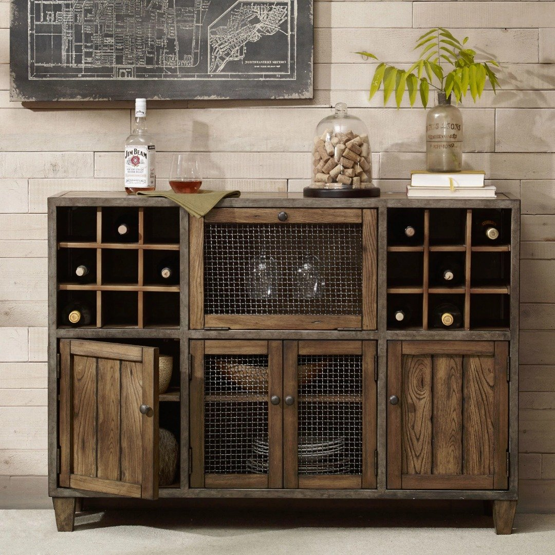 Industrial Rustic Vintage Liquor Storage Wine Rack Cart Metal Frame with Drawers and Doors Storage in Reclaimed Wood Finish Sideboard Buffet - Includes Modhaus Living Pen 0