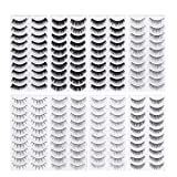 Frcolor 80 Pairs Natural Fake Eyelashes 10-Style Thick Long Eye Lashes for Women Lady Teenager Girls (Color: Black)