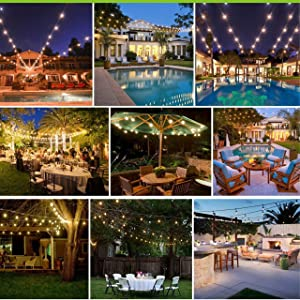 2 Pack LED 48FT Outdoor String Light, Banord Commercial Grade Heavy Duty Light String With 15 x E26 Socket, 18 x 2W Dimmable S14 Bulb (3 Spares) String Lighting, Waterproof Vintage Patio Hanging Light (Color: Warm White-2 PACK)