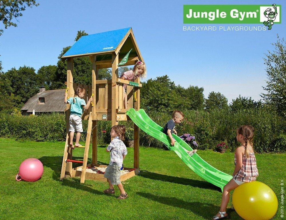 Spielturm Jungle Gym Castle Set mit 2,4 m Rutsche Sandkasten Kletterturm - Jungle Gym (inkl. Holzpaket), Apfelgrün