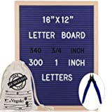 Letter Board 12 x 16 Inches - Vagski Blue Felt Letter Board with 640 Letters Numbers & Symbols (300 1'' + 340 ¾''), Changeable Message Board Sign with Oak Wood Frame, Letter Pouch & Scissors VAG068 (Color: 12x16 Blue)