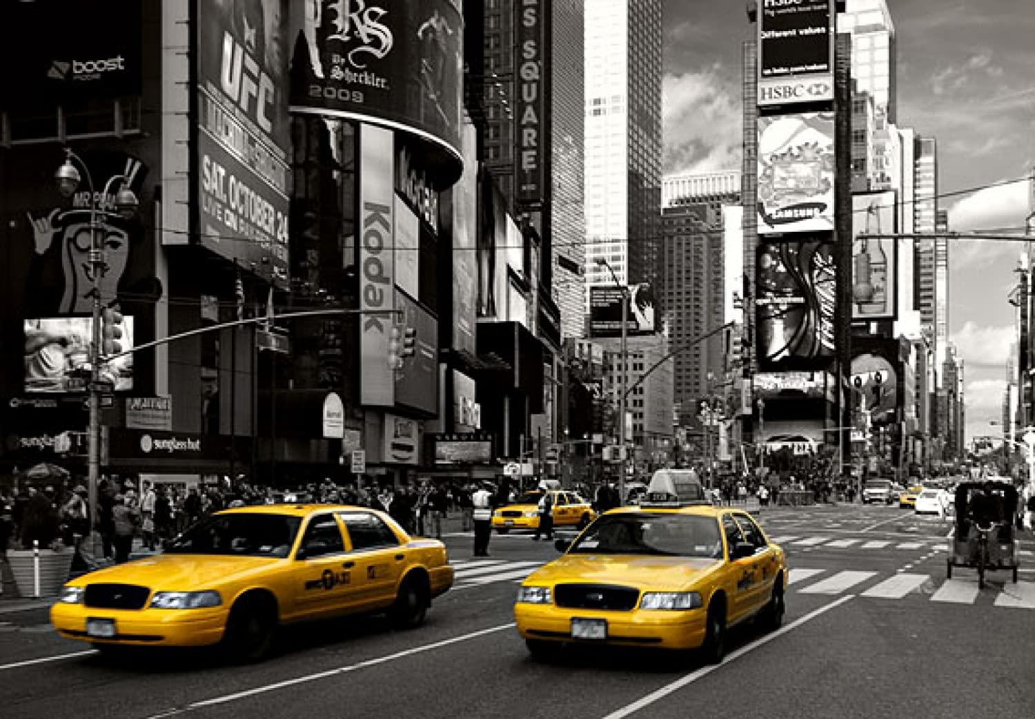 Yellow Cabs at Times Square Photo Wallpaper 368cm x 254cm