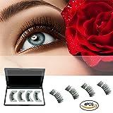 Magnetic False Eyelashes, AMNADOF Dual 3D Fiber Reusable Eyelashes, No Glue Natural Eyelashes (2 Pairs)