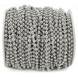 CleverDelights Ball Chain Spool - 30 Feet - 3.2mm Ball - Antique Silver (Platinum) Color - #6 Size (Color: Silver, Tamaño: 3.2mm)