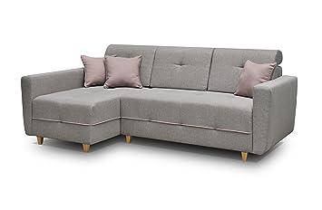 Ecksofa Sofa Eckcouch Couch mit Schlaffunktion und Bettkasten Ottomane L-Form Schlafsofa Bettsofa Polstergarnitur - TUCSON (Ecksofa Links, Dunkelgrau)