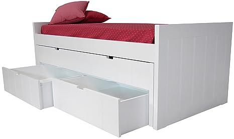 Sueñomueble - Cama infantil,juvenil nido blanco lacado 2 camas y cajones dm(mdf) 4 cms, no melamina. lacada en blanco.2 camas + 2 cajones gran capacidad.mod.alba