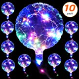 10 Pack LED Light Up Bobo Balloons 20 Inch Latex Clear Transparent Round Bubble Colorful Balloon with Flash String for Wedding Decoration Birthday Party Christmas Decor