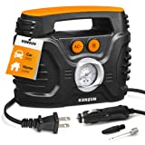 Kensun AC/DC Power Supply Portable Air Compressor Pump with Analog Display to 120 PSI for Home (110V) and Car (12V), Tire Inflator with Adaptors for Cars, Trucks, Bicycles, Balls (Tamaño: Compact)