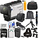 Sony Action Cam FDR-X3000R Wi-Fi GPS 4K HD Video Camera Camcorder & Remote + Mounts + 64GB Card + Battery/Charger + Shooting Grip + Tripod + Case Kit