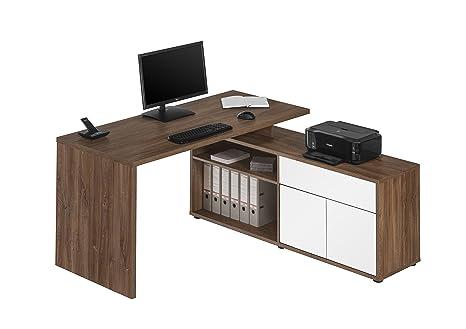 Computertisch Schreibtisch MAJA in Eiche dunkel - Hochglanz Weiß 153x75x149cm Burotisch