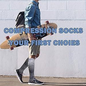 2-8 Pairs Compression Socks Women & Men 15-20 mmHg -Best Travel & Flight Socks-Running & Fitness . (Color: B1-tyle 21-8 Pack, Tamaño: Large / X-Large)